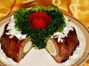 Мясной рулет из фарша «Царский» с яйцом в духовке