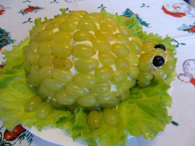 салат черепаха с виноградом пошаговый рецепт с фото