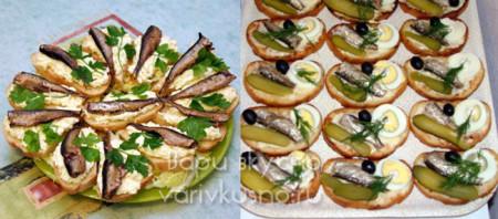 Бутерброды со шпротами и яйцом