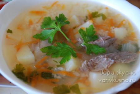 Рецепт супа из голени индейки с кускусом в мультиварке