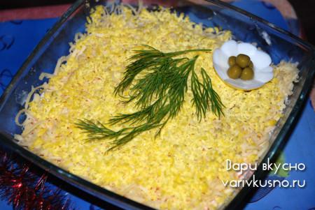 салат мимоза с горбушей фото
