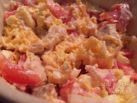 салат курица помидор чеснок