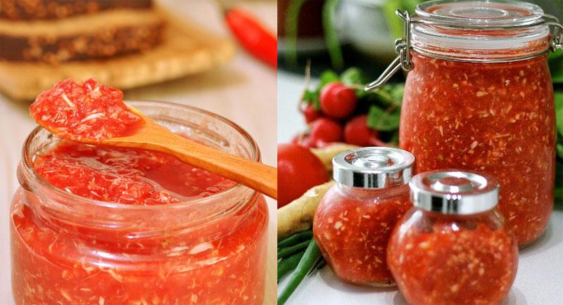 рецепт хреновины из помидор и хрена на зиму без чеснока