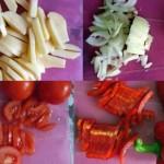 Нарежьте картофель, лук, помидоры и перец.