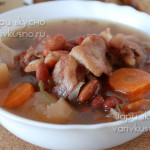 суп из бараньих ребрышек с фасолью в мультиварке-скороварке