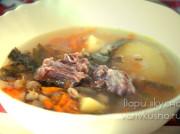 Суп из говяжьего супового набора с перловкой в мультиварке-скороварке