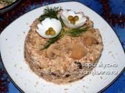 Салат из индейки с сыром, грибами и черносливом на Новый год